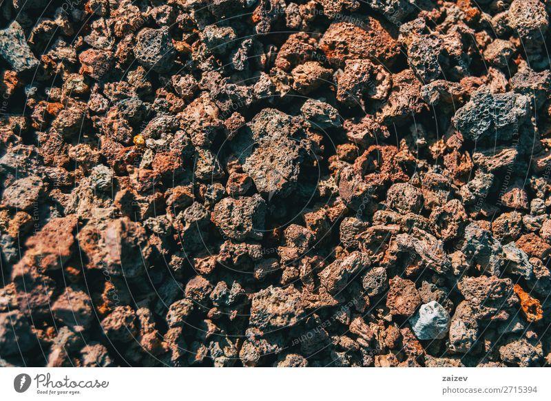 Detail der Vulkangesteine Tapete Natur Erde Felsen Stein dunkel natürlich stark braun grau Boden vulkanisch vulkanische Erde Geologie Hintergrund schließen