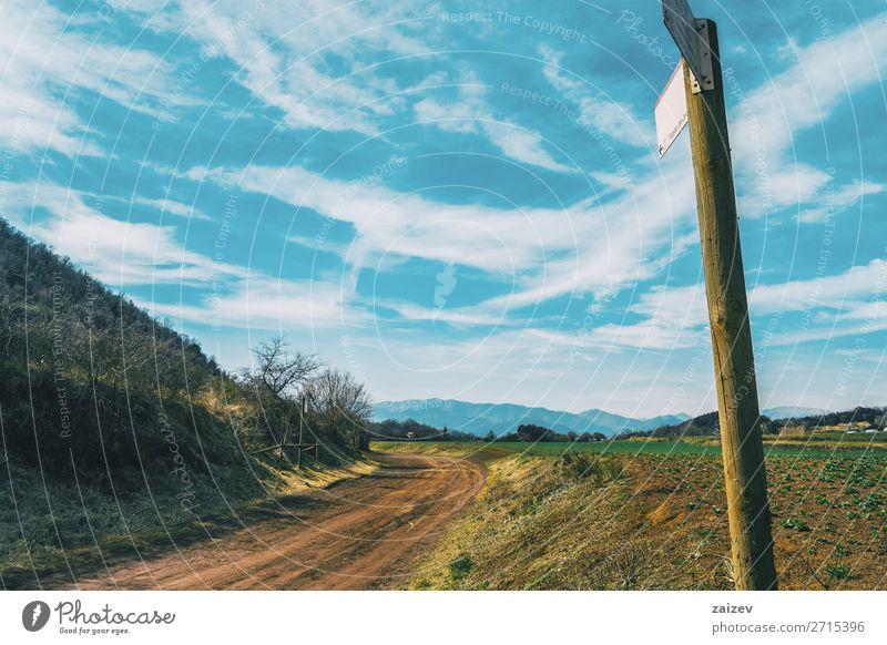 Eine sonnige ländliche Landschaft Ferien & Urlaub & Reisen Ausflug Berge u. Gebirge wandern Umwelt Natur Himmel Wolken Gras Sträucher Wiese Feld Straße