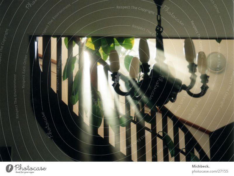 Nebel im Haus Kronleuchter Sonnenlicht Licht Architektur Treppe Geländer Handöauf