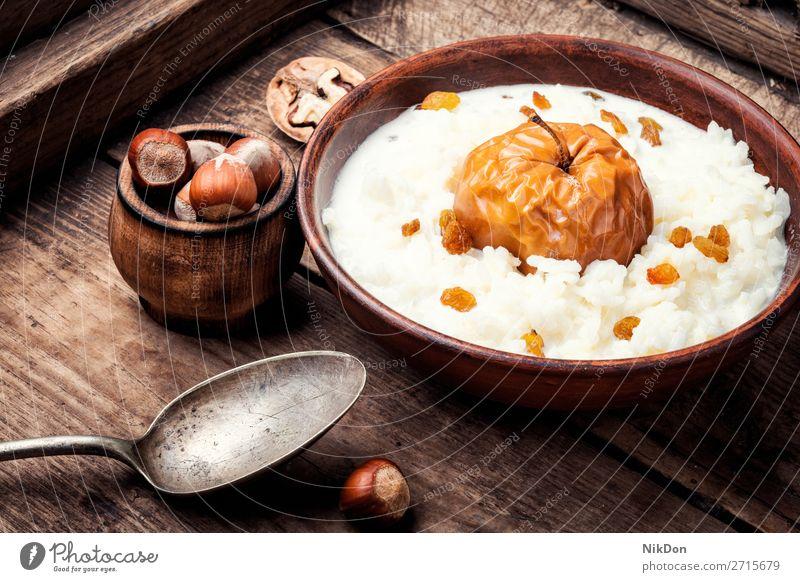 Reisbrei mit Äpfeln Reisporrige Lebensmittel Haferbrei Schalen & Schüsseln Gesundheit Frühstück Mahlzeit süß rustikal rustikale Küche weiß Tisch Diät lecker
