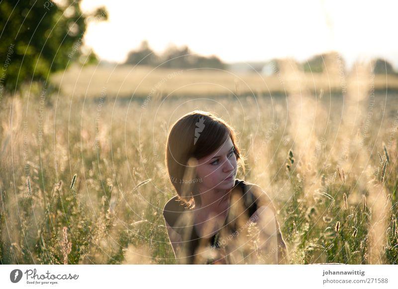 moment mal. 4 Mensch Jugendliche schön Junge Frau Erholung Einsamkeit ruhig Ferne 18-30 Jahre Erwachsene Leben Gras gehen Horizont Zufriedenheit Feld