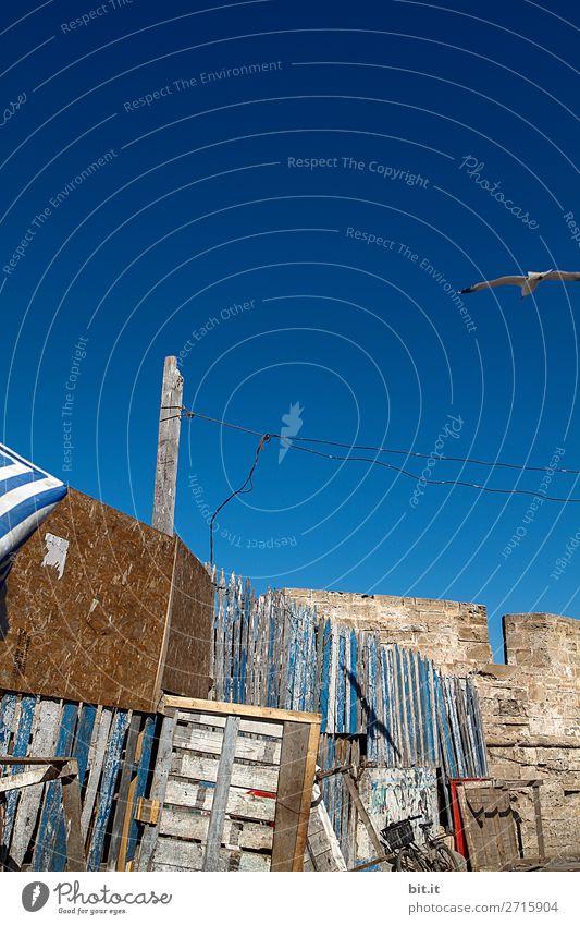 Alte Bretterwand im Hafen von Essaouira, in Marokko, Afrika. Renovieren Handwerker Baustelle Architektur Himmel Mauer Wand Fassade alt dreckig blau weiß