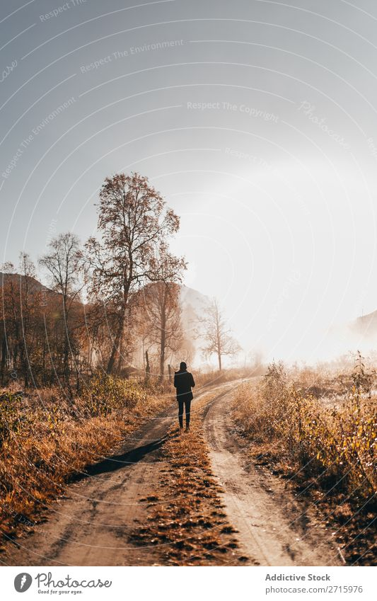 Person, die im Wald auf der Straße unterwegs ist. Mensch laufen Natur Herbst ländlich wandern Freizeit & Hobby Ferien & Urlaub & Reisen Abenteuer Park Aktion