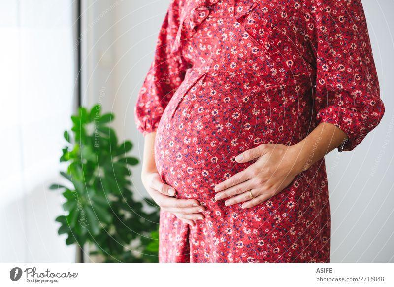 Schwangere Frau, die ihren Bauch berührt. Glück Körper Mensch Baby Erwachsene Eltern Mutter Frauenbrust Arme Hand Pflanze Blume Kleid berühren Liebe stehen