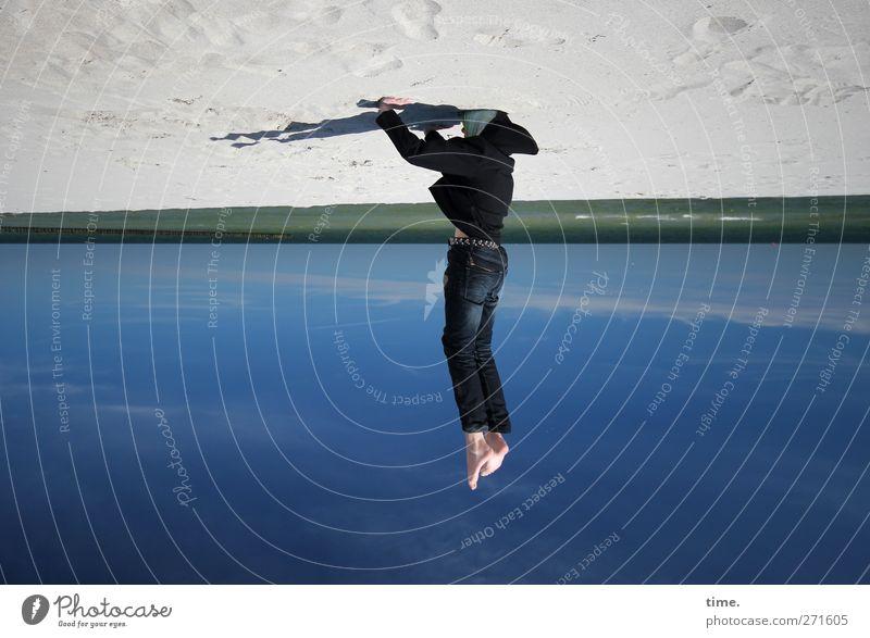 Hiddensee | Andockmanöver Mensch Himmel Strand Freude Wolken Erholung Sport Junge Küste Kunst Horizont Körper Kindheit maskulin ästhetisch Show