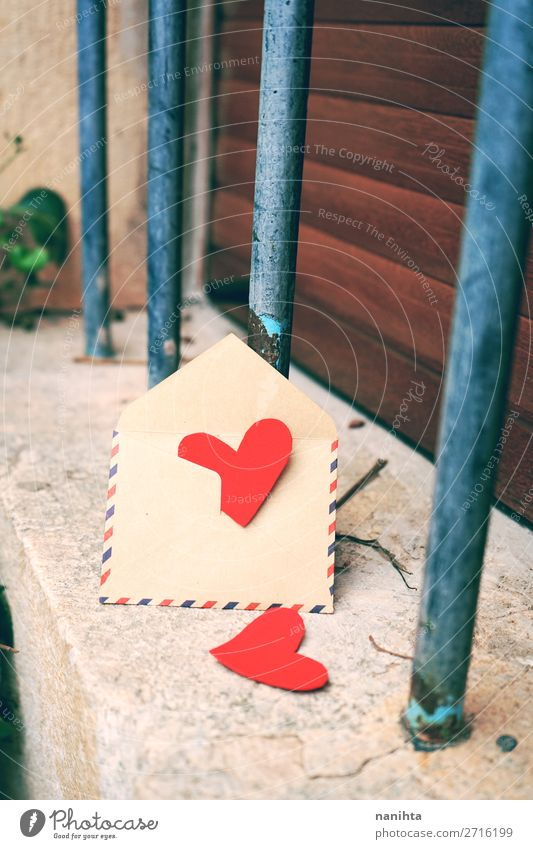 Schöner Hintergrund zum Valentinstag-Thema Stil Design schön Wellness Leben Feste & Feiern Familie & Verwandtschaft Paar Herz Liebe frisch nah rot Gefühle Treue