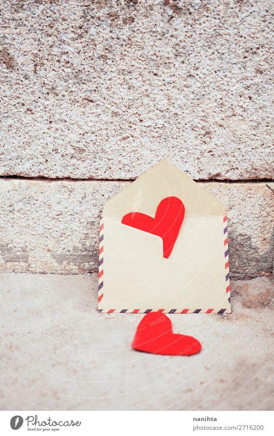 Schöner Hintergrund zum Valentinstag-Thema Stil Design schön Leben Handarbeit Feste & Feiern Familie & Verwandtschaft Paar Papier Herz Liebe einfach