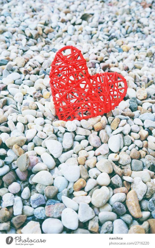 Schöner Hintergrund zum Valentinstag-Thema Stil Design schön Leben Feste & Feiern Familie & Verwandtschaft Paar Stein Herz Liebe authentisch einfach