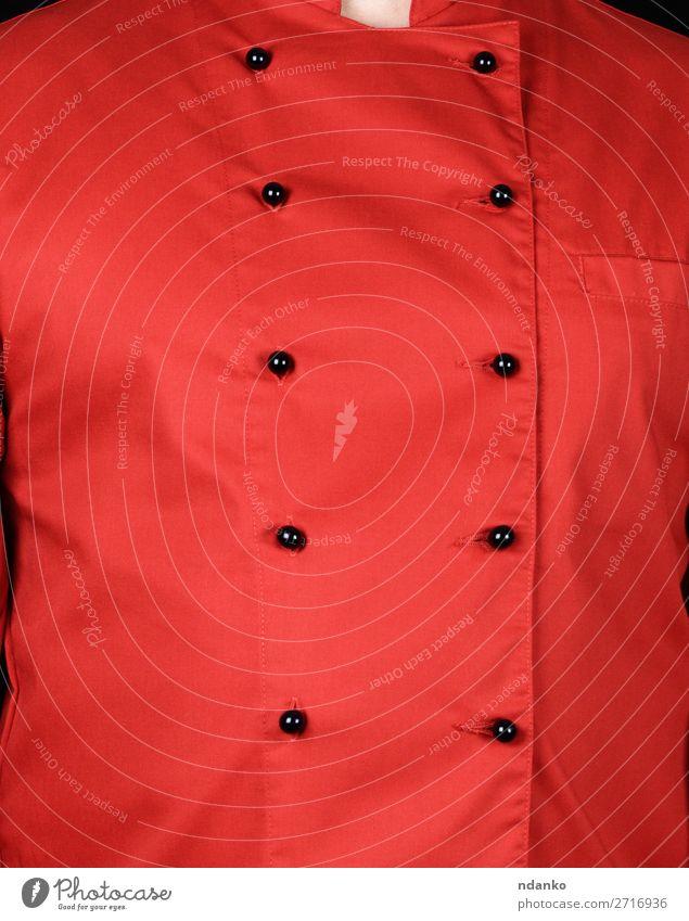 Fragment einer roten Uniform mit schwarzen Knöpfen Stil Küche Restaurant Arbeit & Erwerbstätigkeit Beruf Koch Mensch Mann Erwachsene Bekleidung Hemd Anzug Jacke