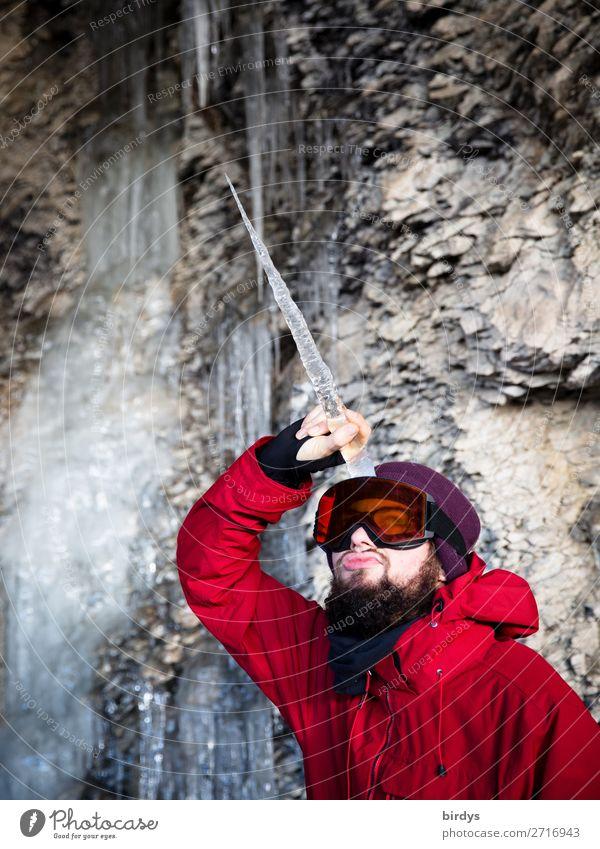 Männerträume Winter maskulin Junger Mann Jugendliche 1 Mensch 18-30 Jahre Erwachsene Eis Frost Felsen Jacke Schneebrille Mütze Vollbart Eiszapfen Einhorn