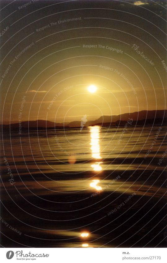 abend ruhig Ferne Bewegung Wellen Romantik Norwegen