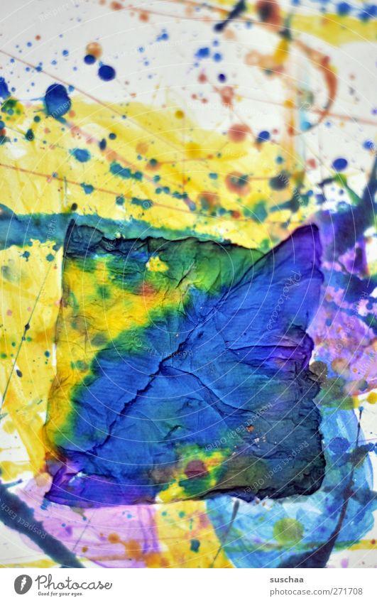farbflash Kunst Kunstwerk Gemälde verrückt blau gelb violett Papier Fleck Strukturen & Formen Farbstoff Farbfoto mehrfarbig Nahaufnahme abstrakt Muster