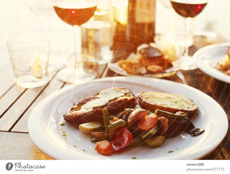 Abendmahl. Lebensmittel ästhetisch Speise Ernährung Getränk Restaurant Romantik Wein Weinflasche Weinglas Teller Steak mediterran Ferien & Urlaub & Reisen