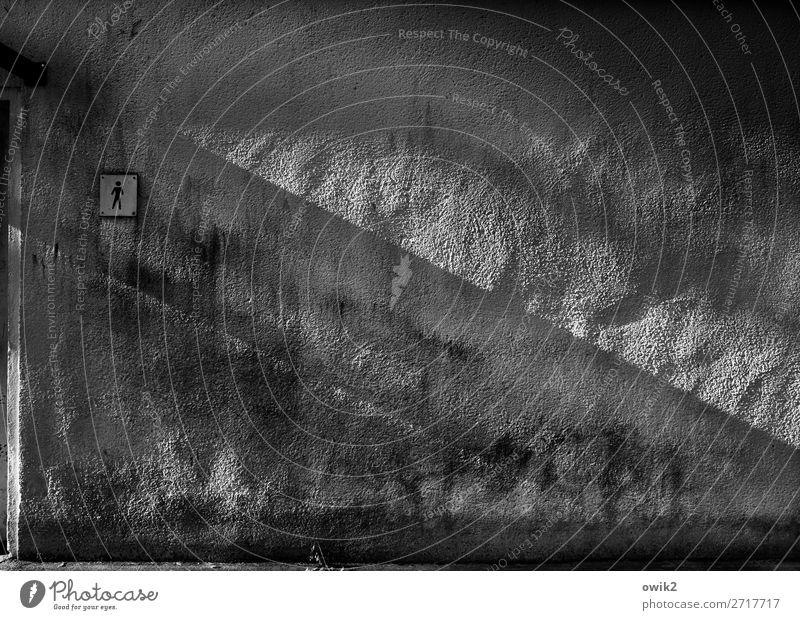 Designerklo Mann Wand Mauer Schilder & Markierungen Zeichen Figur Toilette trashig Putz diagonal rau Piktogramm Lichteinfall Putzfassade Campingplatz grobkörnig
