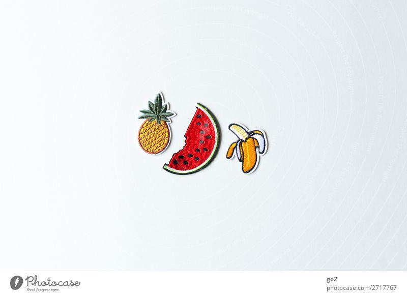 Ananas, Wassermelone, Banane Lebensmittel Frucht Ernährung Bioprodukte Vegetarische Ernährung Diät Fasten Accessoire Dekoration & Verzierung Stoff aufnäher