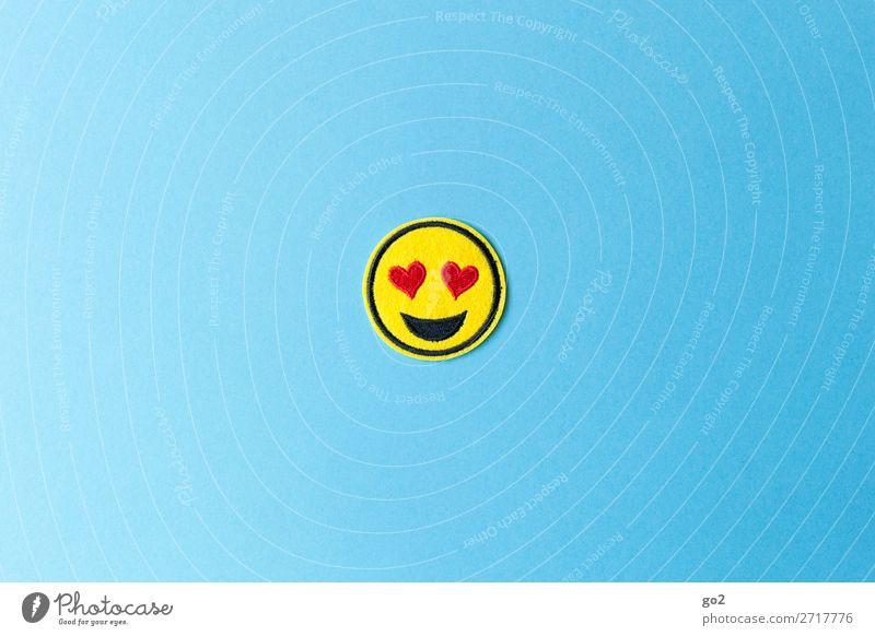 Heart Eyes Emoji Valentinstag Hochzeit Geburtstag Neue Medien Internet Stoff Zeichen Herz Smiley Fröhlichkeit positiv Gefühle Freude Glück Zufriedenheit