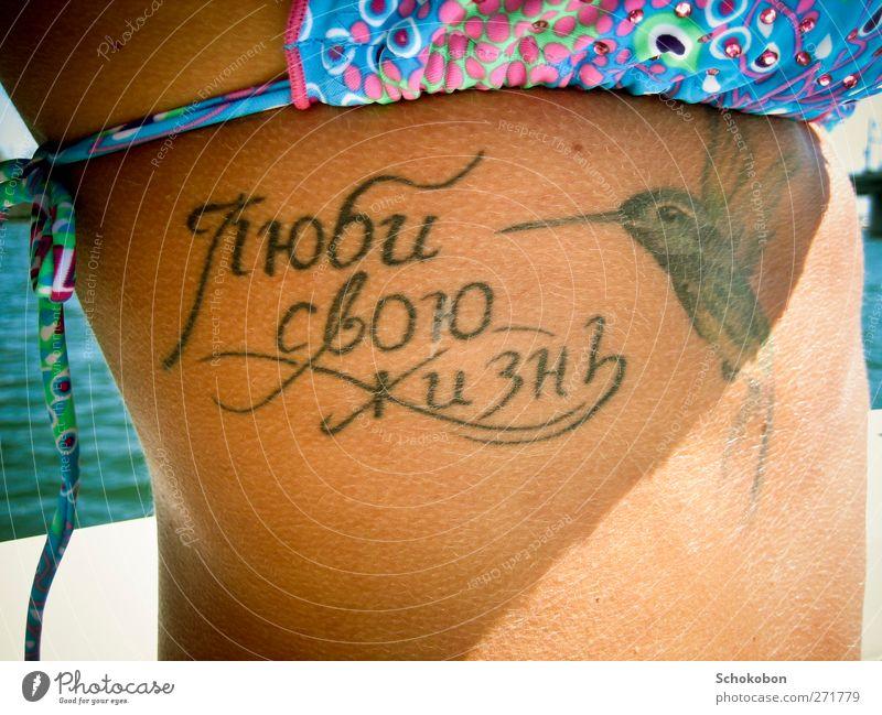 Love your life Stil Design Freude schön Körper Haut Ferien & Urlaub & Reisen Sommer feminin Bauch Sonnenlicht Bikini Tattoo Vogel Kolibris Schriftzeichen