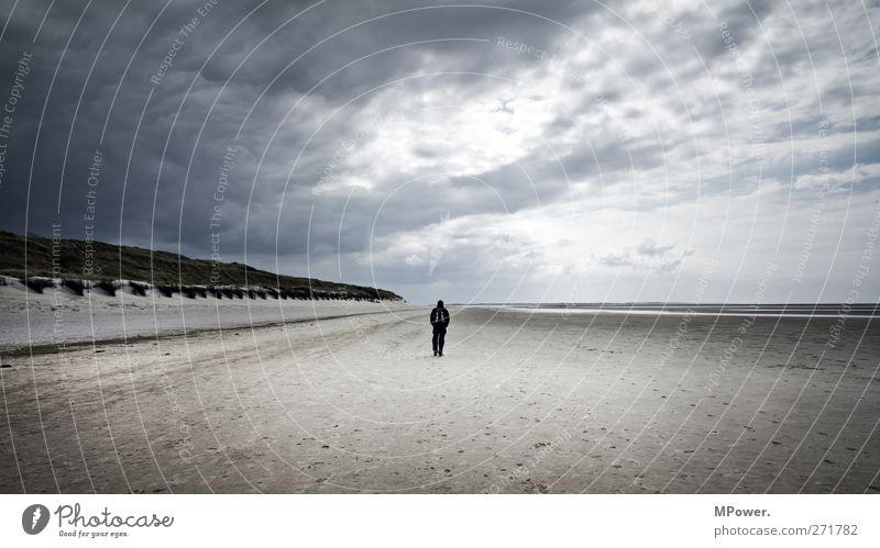 way back home Mensch Frau Mann Ferien & Urlaub & Reisen Meer Strand Einsamkeit Erwachsene Ferne Umwelt Freiheit Sand Horizont Rücken Freizeit & Hobby Insel