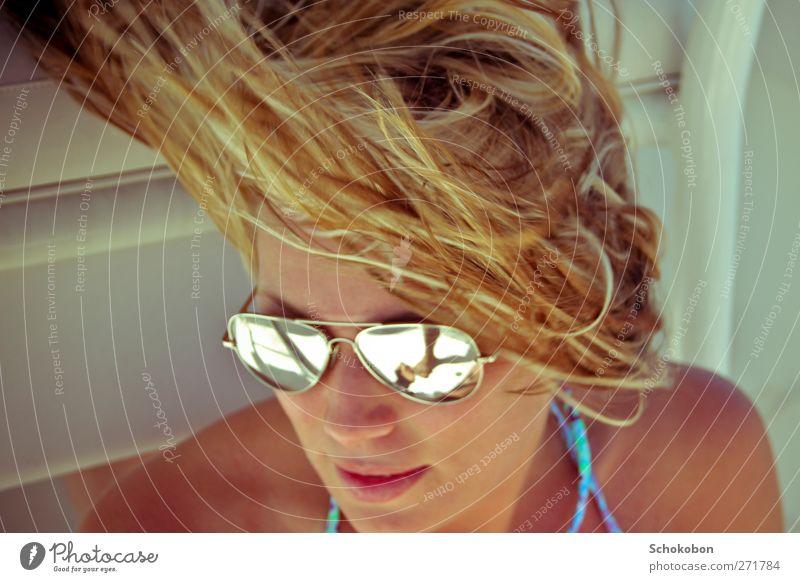 windy summer Ferien & Urlaub & Reisen schön Freude Erholung Gesicht feminin Haare & Frisuren Schwimmen & Baden Denken Stil Kopf blond Zufriedenheit Mund Design