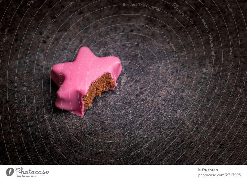 angebissener Punschstern Weihnachten & Advent Freude schwarz Lebensmittel Essen Feste & Feiern rosa Ernährung frisch genießen Vergänglichkeit Stern (Symbol)