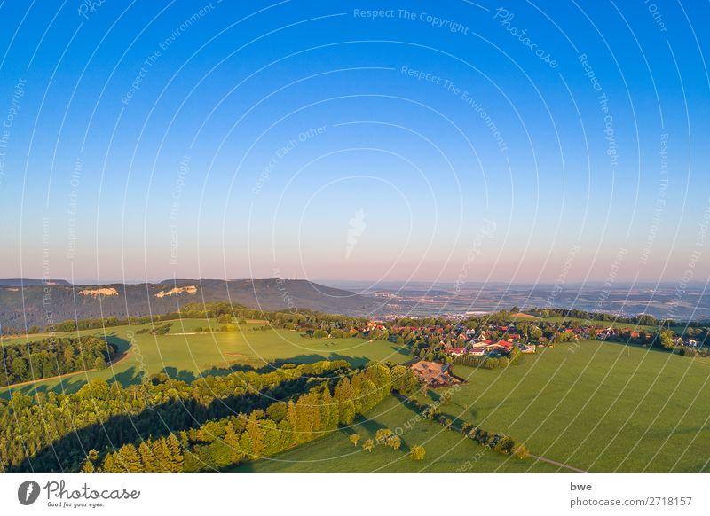 Aerial view Umwelt Natur Landschaft Himmel Wolkenloser Himmel Sonnenlicht Sommer Schönes Wetter Wald Albstadt Burgfelden Dorf bevölkert wandern Ferne frei