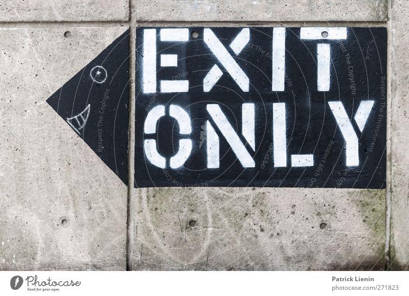 Wegweisend Kunst Stadt Haus Bauwerk Mauer Wand Zeichen Hinweisschild Warnschild Graffiti Denken entdecken Blick außergewöhnlich lustig rebellisch Spitze