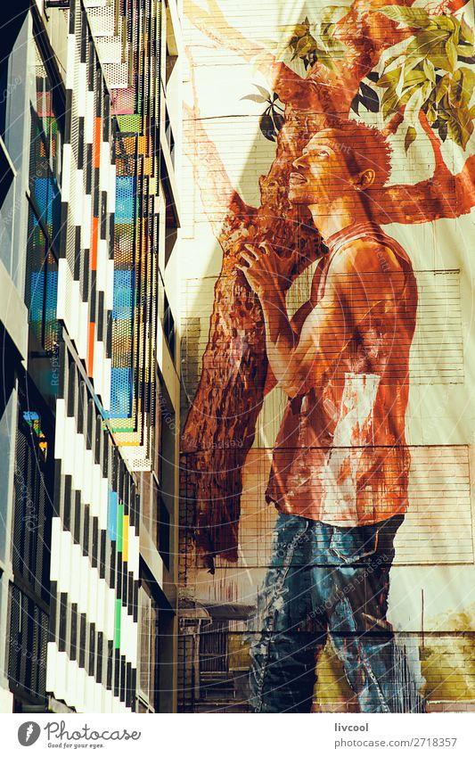 Mann Stadt weiß Baum Haus Fenster dunkel schwarz Straße Lifestyle Erwachsene Graffiti Stil Gebäude Kunst Tourismus