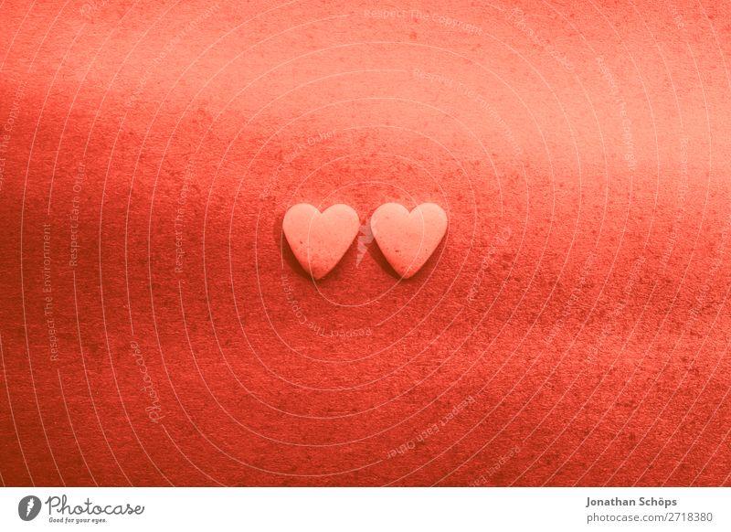 Zwei Herzen zum Valentinstag rot Erotik Freude Hintergrundbild Liebe Gefühle Zusammensein rosa Papier graphisch Liebespaar Verbindung Verabredung