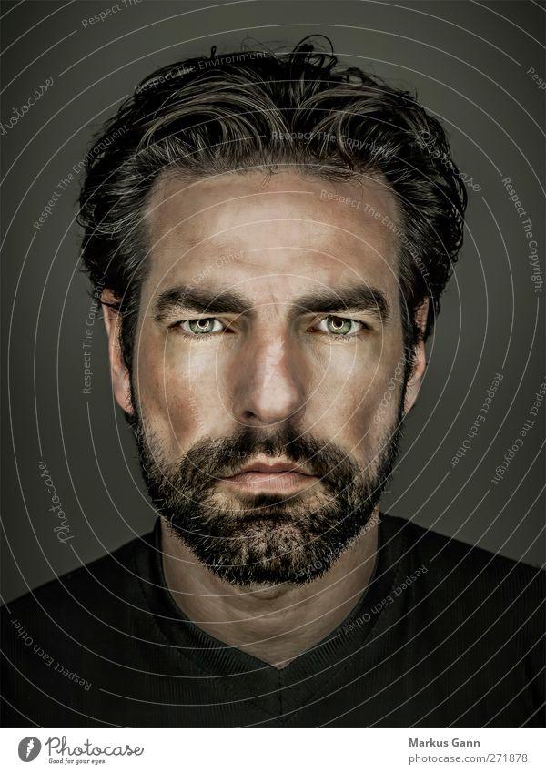 Portrait Männlichkeit Lifestyle Stil Gesicht Mensch maskulin Mann Erwachsene Kopf 1 30-45 Jahre Haare & Frisuren schwarzhaarig Bart Vollbart Coolness grau