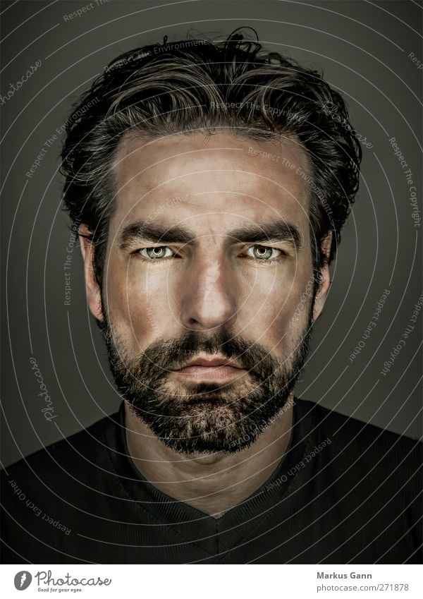 Portrait Männlichkeit Mensch Mann Gesicht Erwachsene dunkel Haare & Frisuren grau Kopf Stil maskulin Lifestyle Coolness Model Bart direkt schwarzhaarig