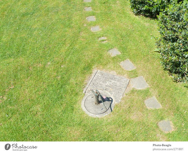 Handpumpe grün Sonne Sommer Wiese Wärme Gras Garten Park Schönes Wetter Freundlichkeit heiß trocken Wasserpumpe