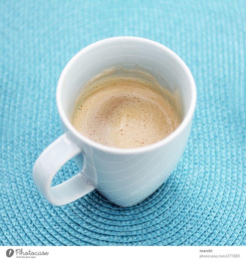 Käffsche?! Lebensmittel Ernährung Getränk trinken Heißgetränk Kaffee Latte Macchiato Espresso blau durstig Kaffeetasse Tasse türkis geschmackvoll wach Farbfoto