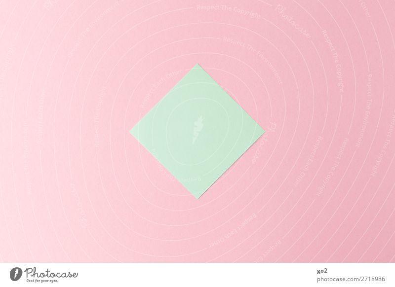 Grüner Zettel auf Rosa Büroarbeit Schreibwaren Papier ästhetisch einfach grün rosa Design Farbe Genauigkeit Idee Inspiration Kreativität Ordnung Präzision rein