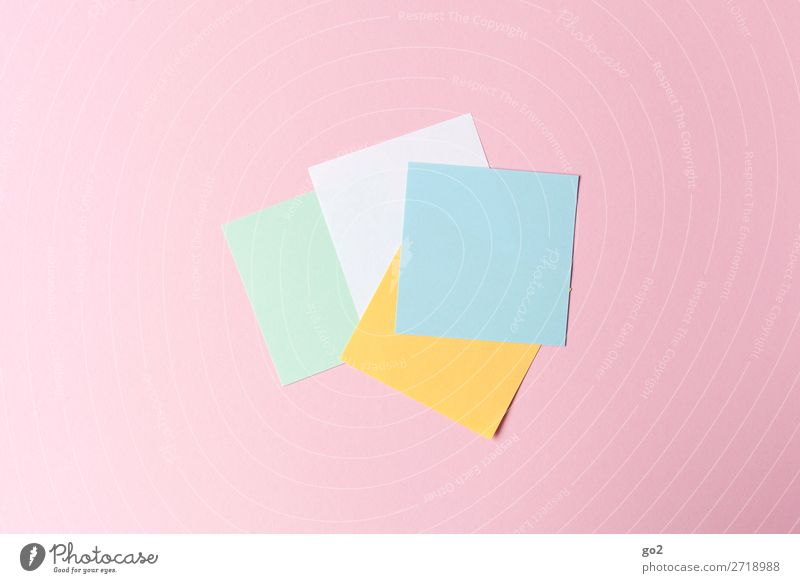 Bunte Zettel Büroarbeit Printmedien Schreibwaren Papier ästhetisch neu Design Farbe Idee Inspiration Kreativität blanko leer Quadrat Farbfoto mehrfarbig