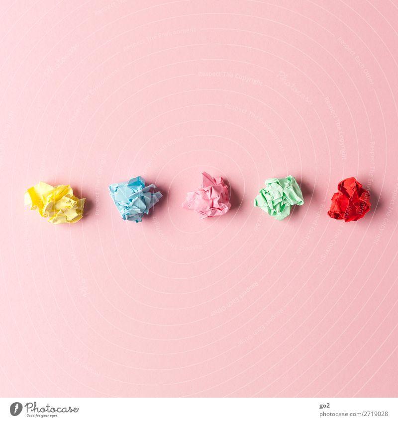 Kreatief Basteln Bildung Schule lernen Studium Büroarbeit Arbeitsplatz Werbebranche Schreibwaren Papier Zettel ästhetisch mehrfarbig Unlust Stress Ärger