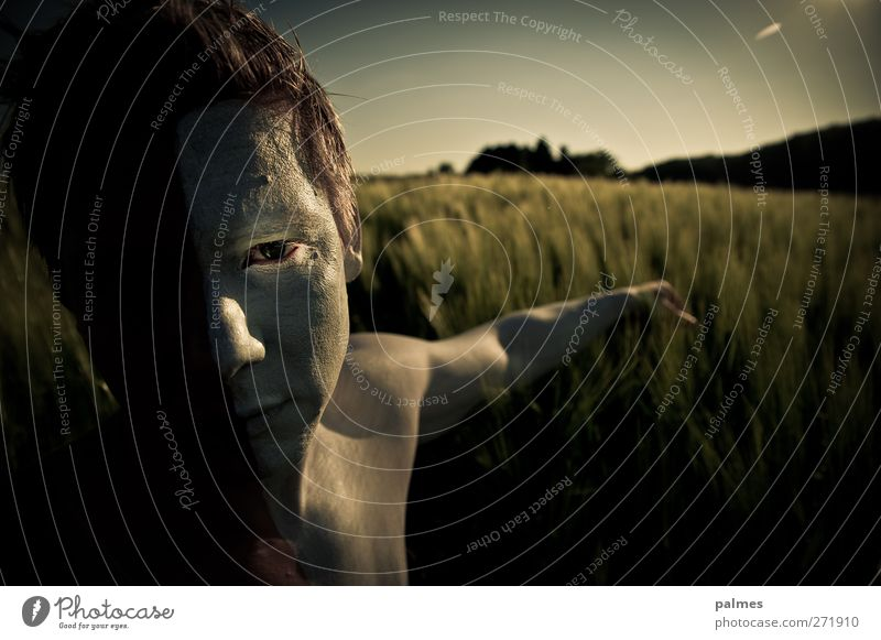 Die Ernte verzaubern ... Getreidefeld Mann Erwachsene Auge Arme 1 Mensch Natur Landschaft Sommer Schönes Wetter berühren muskulös nackt natürlich weiß Tierhaut