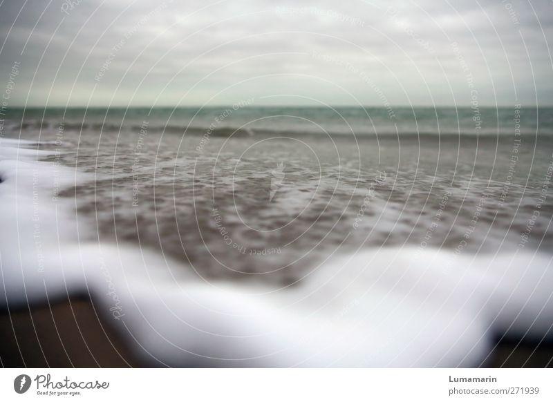 here comes the flood Umwelt Landschaft Urelemente Sand Luft Wasser Himmel Wolken Horizont schlechtes Wetter Wellen Strand Nordsee Meer groß Unendlichkeit kalt