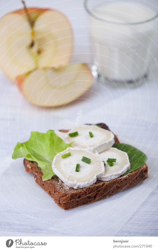 Schnurzelpurzels breakfast weiß Gesundheit Glas Frucht Lebensmittel gut Gesunde Ernährung Apfel Frühstück Brot Holzbrett Milch Käse Salatbeilage Billig Snack