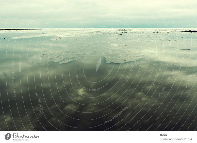 winterliche Tristesse Himmel Natur Wasser Stadt Meer Winter Wolken ruhig Umwelt Landschaft gelb dunkel kalt Küste grau Eis