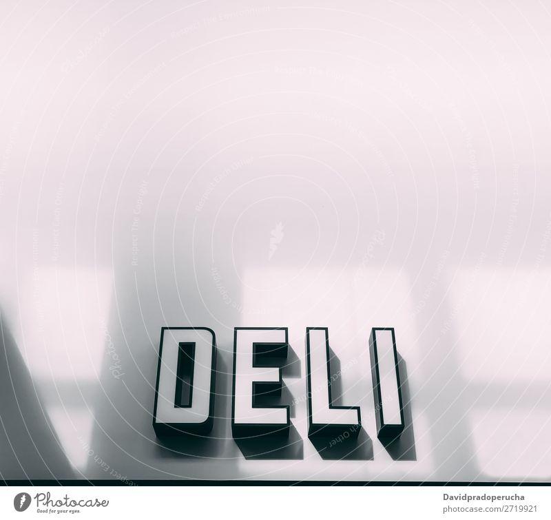 Deli Shop Werbeschild Marketing Werbung Hinweisschild Zeichen Transparente Logo Anzeigen Poster Markt rot geschäftlich Feinkostladen Ladenfront Lebensmittel