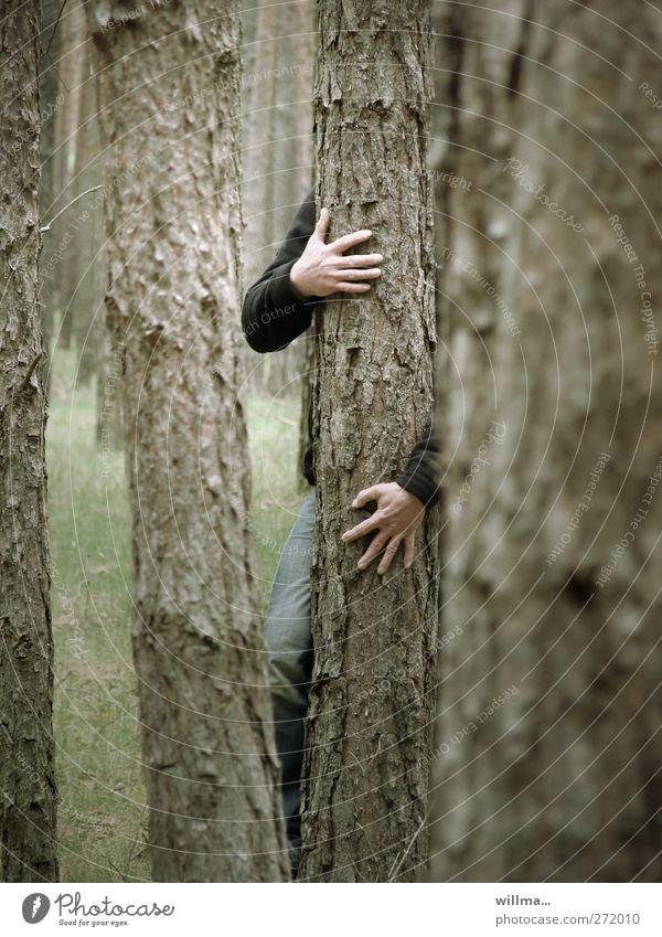 Der mit dem Baum tanzt Wald Forstwirtschaft maskulin Hand Natur Baumstamm gruselig Kraft Einsamkeit nachhaltig Umweltschutz Zusammenhalt Umarmen festhalten