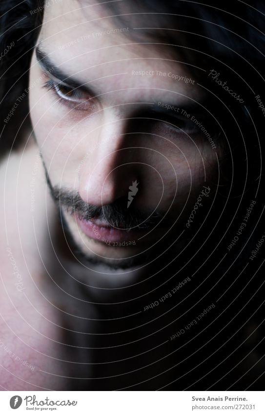 herbst träne. maskulin Junger Mann Jugendliche Erwachsene Kopf Haare & Frisuren Gesicht 1 Mensch 18-30 Jahre brünett langhaarig Locken dunkel natürlich schön