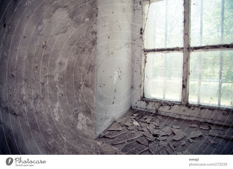 1105 alt Fenster Wand Mauer Fassade verfallen Putz Fensterscheibe abblättern Fensterrahmen