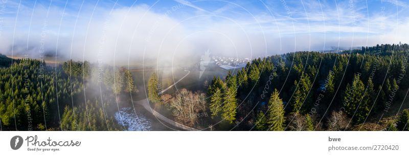 Aerial view out of the clouds Umwelt Natur Landschaft Pflanze Himmel Wolken Winter Klima Schönes Wetter Wald Dorf bevölkert Haus Wege & Pfade atmen entdecken