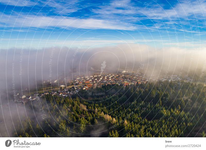 Aerial view out of the clouds Umwelt Natur Landschaft Himmel Wolken Frühling Sommer Klima Wetter Schönes Wetter Wald Bubsheim Dorf bevölkert Haus atmen fliegen