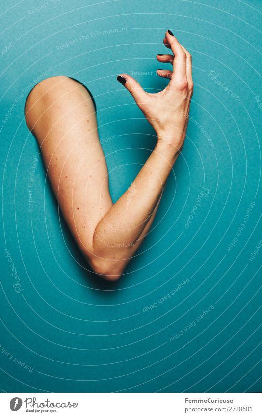 Upper arm of a woman feminin 1 Mensch Kommunizieren gestikulieren Ausdruck sprechen Arme Hand Finger türkis Kreis Loch Farbfoto Studioaufnahme