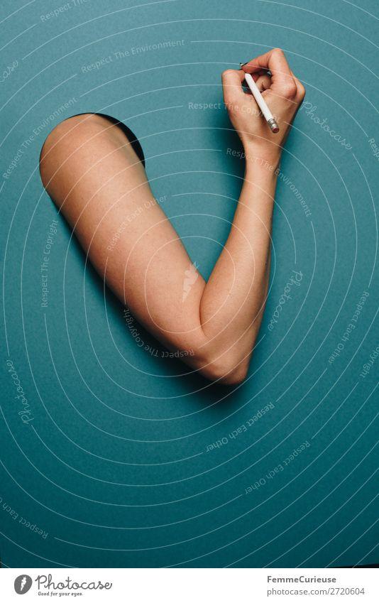 Arm of a woman in front of a turquoise background feminin 1 Mensch Schreibwaren Papier Kommunizieren Gliedmaßen Haut Arme Hand Finger schreiben Bleistift