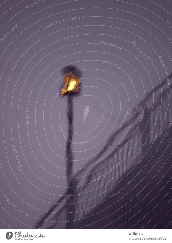 der heimleuchter Fluss Brücke Laterne leuchten dunkel Einsamkeit Brückengeländer Laternenpfahl violett Traurigkeit Farbfoto Außenaufnahme Menschenleer