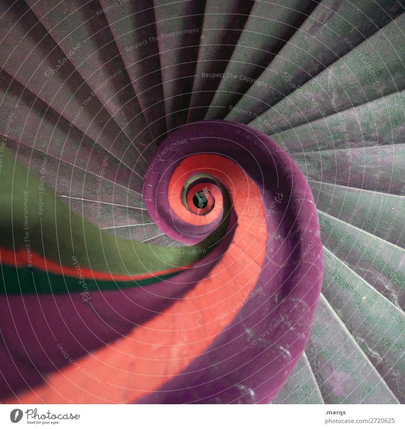 Wendeltreppe alt Farbe grün orange grau Treppe Perspektive rund violett aufsteigen Abstieg