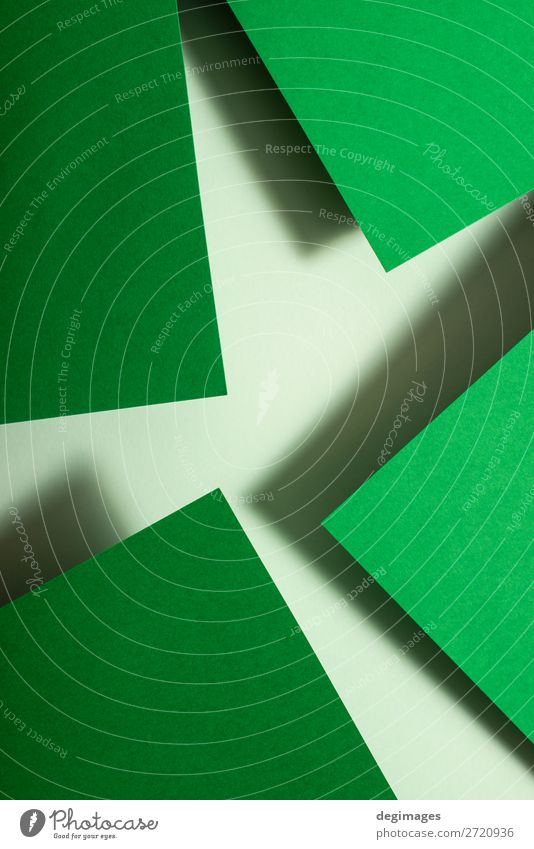 Entwurf von Grünbuchmaterialien. Geometrische einfarbige Formen Design Tapete Handwerk Kunst Papier Linie Streifen retro grün Farbe geometrisch Hintergrund